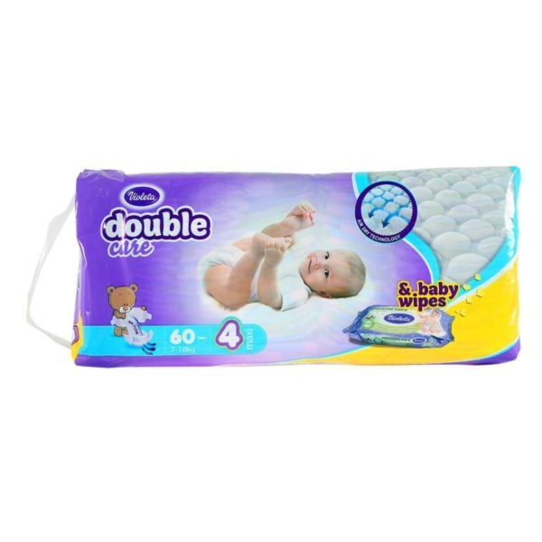 Baby dipers double care Air dry size 4 (7-11kg) 60/1 Violeta -0