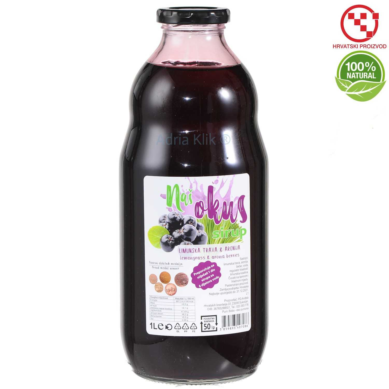Limunska-trava-aronija-sirup-syrup-1l-Nas-Okus-Sukosan-100-natural-Adria-Klik_Webshop-ducan-eko-croatia-prozvod-ink