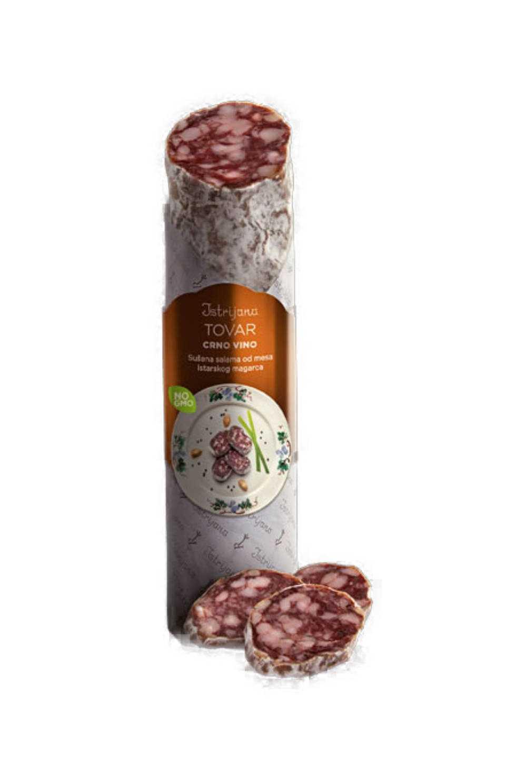 Tovar Salama od mesa istarskog magarca i istarskog crnog vina Salama od min. 50% mesa istarskog magarca i istarskog crnog vina sorte teran. Jedinstvena salama na hrvatskom tržištu. Komad salame teži oko 200 g.